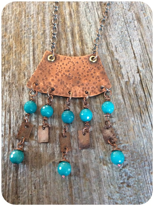 Copper with Layered Blue Agate Drops Necklace