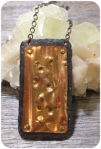 Copper Rainbow Riveted Pendant
