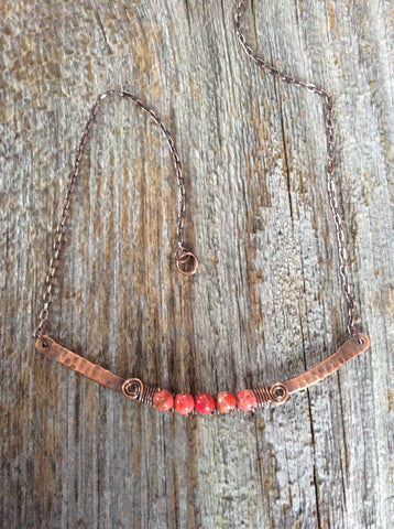Red Impression Jasper Beaded Copper Bar Necklace