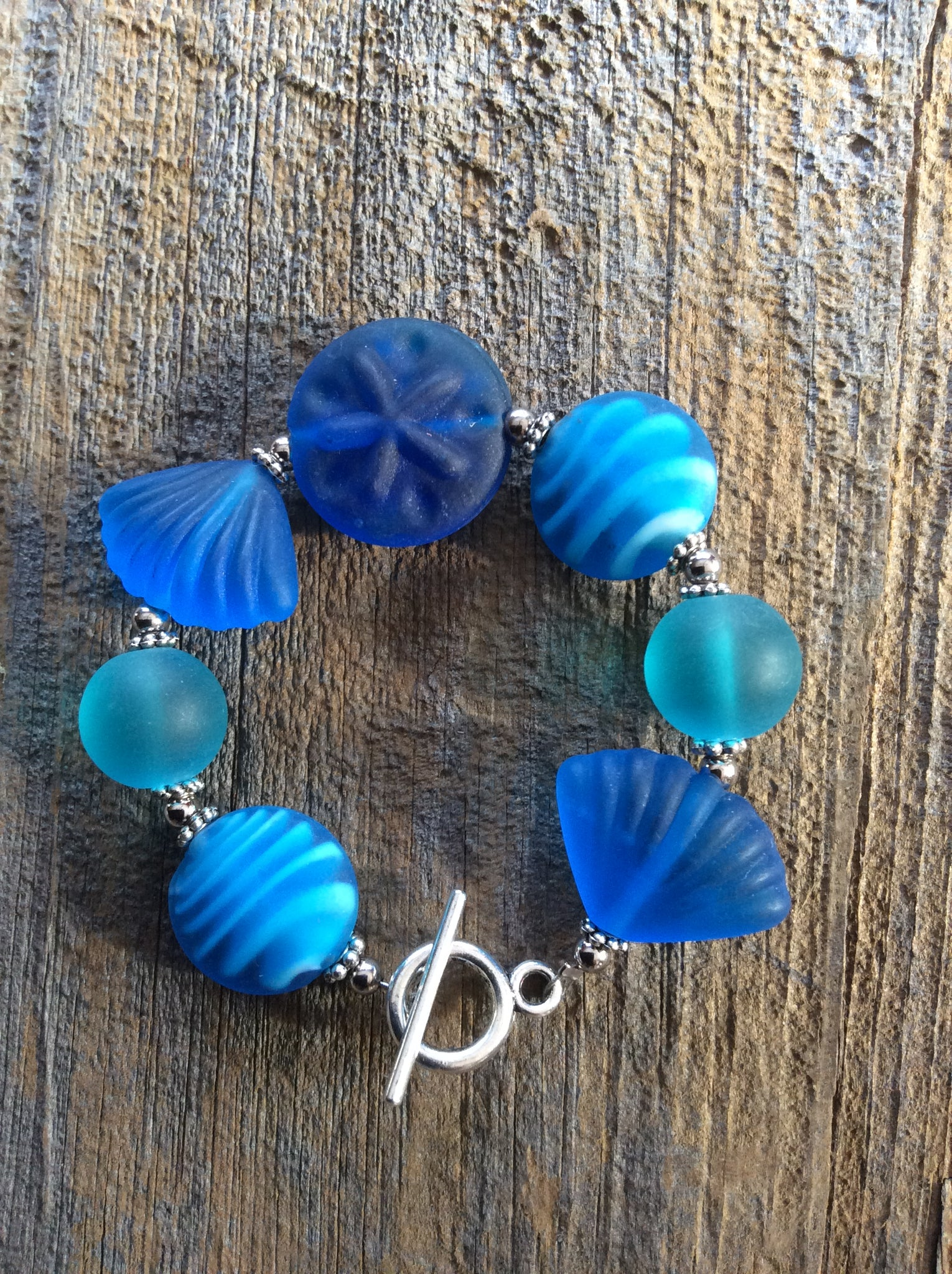 Blue Beach Glass Bracelet