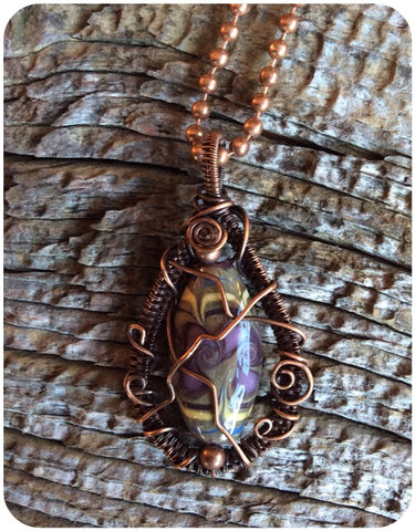 Copper Wire Wrapped Lampwork Bead