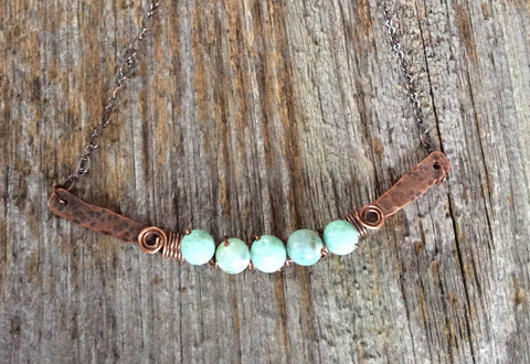 Pale Blue Beaded Copper Bar Necklace