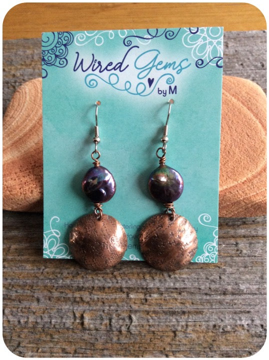Dapped Copper Earrings with Coin Pearl