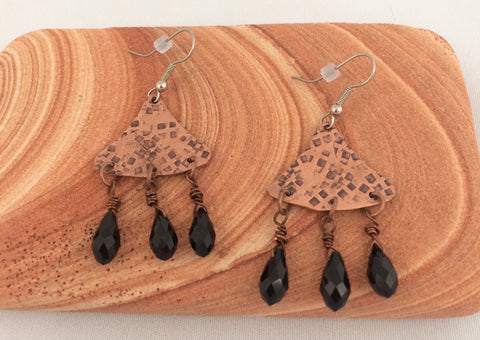 Copper Triangle Chandelier Earrings