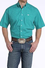 Shirt - CINCH MEN'S SHORT SLEEVE TEAL GEOMETRIC SHAPE SHIRT/MTW1111251 - Cinch - Mock Brothers Saddlery and Western Wear