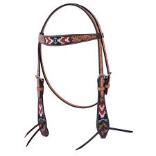 HEADSTALL - OXBOW BEADED/FLORAL HEADSTALL/122890 - OXBOW - Mock Brothers Saddlery and Western Wear