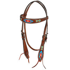 HEADSTALL - OXBOW LEATHER PAINTED AZTEC BROW BAND HEADSTALL/122875 - OXBOW - Mock Brothers Saddlery and Western Wear