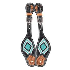 OXBOW FLORAL TOOLED BEADED SPUR STRAPS/124313