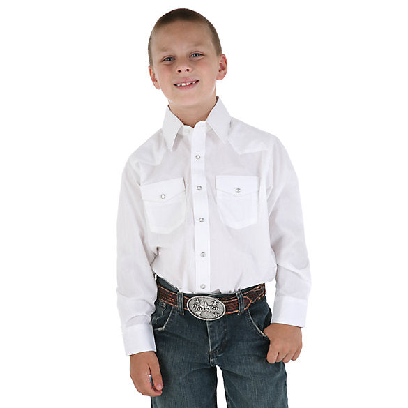 Kids Shirts - Wrangler Kids White Snap Up Shirt/204WHSL - Wrangler - Mock Brothers Saddlery and Western Wear