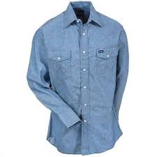 Shirt - Wrangler long sleeve Chambray men's shirt/70136mw - Wrangler - Mock Brothers Saddlery and Western Wear