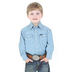 Kids Shirts - BOY'S COWBOY CUT® WESTERN SNAP SHIRT - Wrangler - Mock Brothers Saddlery and Western Wear