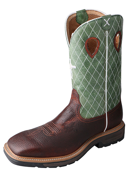 Boots - Twisted X Lite Cowboy Workboot – Cognac Glazed Pebble/Lime - Twisted X - Mock Brothers Saddlery and Western Wear
