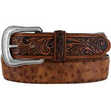 BELT - TONY LAMA MEN'S OSTRICH/FLORAL PRINT BELT/C42525 - Tony Lama - Mock Brothers Saddlery and Western Wear