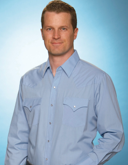 Shirts - Ely Men's Blue Western Shirt - Ely Cattleman - Mock Brothers Saddlery and Western Wear