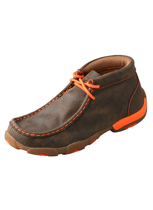 Kids Shoes - Kid's Driving Moccasins – Bomber/Neon Orange/YDM0006 - Twisted X - Mock Brothers Saddlery and Western Wear