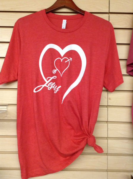 "Womens Tops - ""JESUS"" Heart Ladies T-shirt - Mock Brothers Saddlery - Mock Brothers Saddlery and Western Wear"