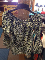 Womens Tops - Women's leopard print 3/4 length top - L & B - Mock Brothers Saddlery and Western Wear