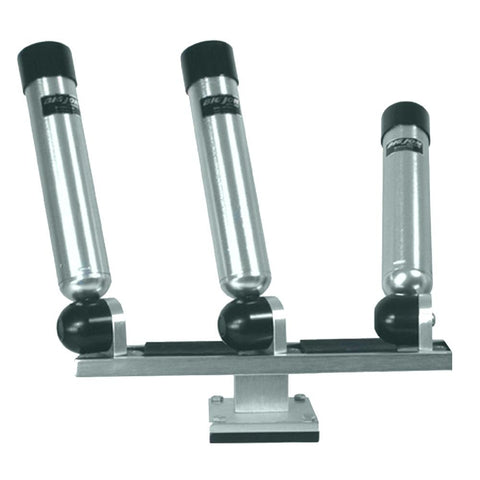 Big Jon Triple Multi-Axis Pedestal Mounted Rod Holder - Silver