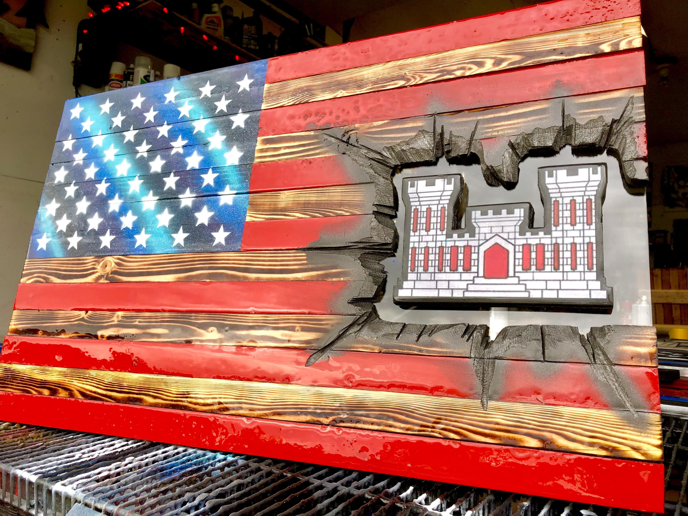 "32"" American Flag - Engineer Castle Patch Series"