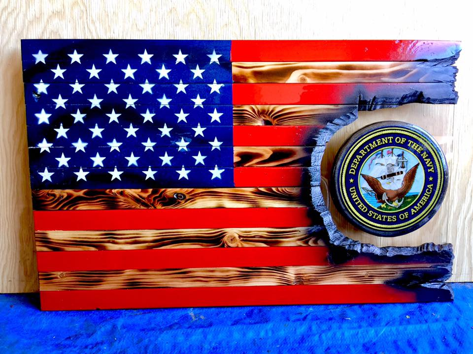"32"" American Flag - Navy Patch Series"