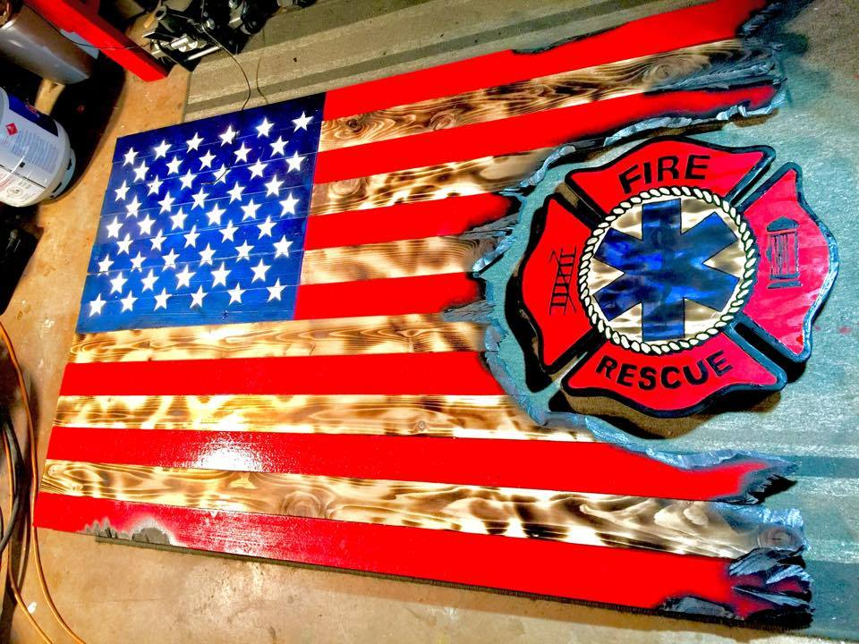 6' American Flag Fire Rescue
