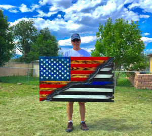"4' American Flag Split ""Thin Blue Line"""