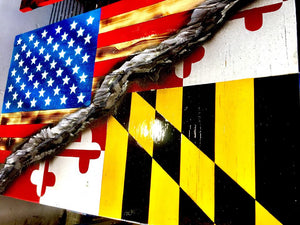 "32"" American/Maryland Split Flag"