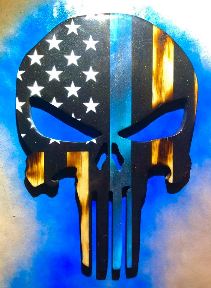 """Thin Blue Line"" - Punisher Flag"