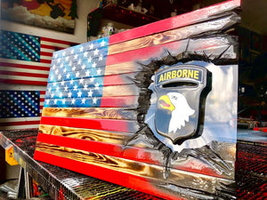 "32"" American Flag - 101st Airborne ""Screaming Eagles"" Patch Series"