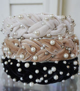 Velvet Pearl Braided Headband Black