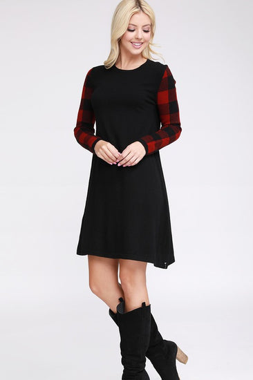 Lets Get Toasty Buffalo Check Sweater Dress Red