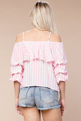 Pink Stripe Cold Shoulder Top