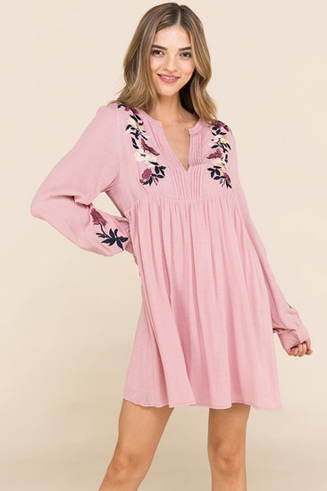 Loved and Cherished Embroidered Dress Blush