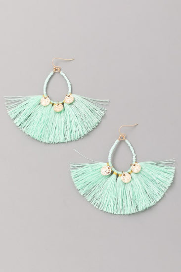 Look Out Beaded Tassel Earrings Mint