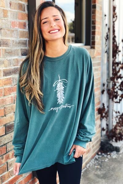 Merry Christmas Mistletoe Long Sleeve Tee Green
