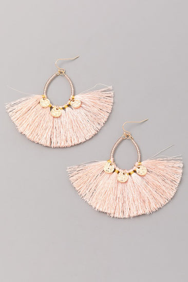 Look Out Beaded Tassel Earrings Pink