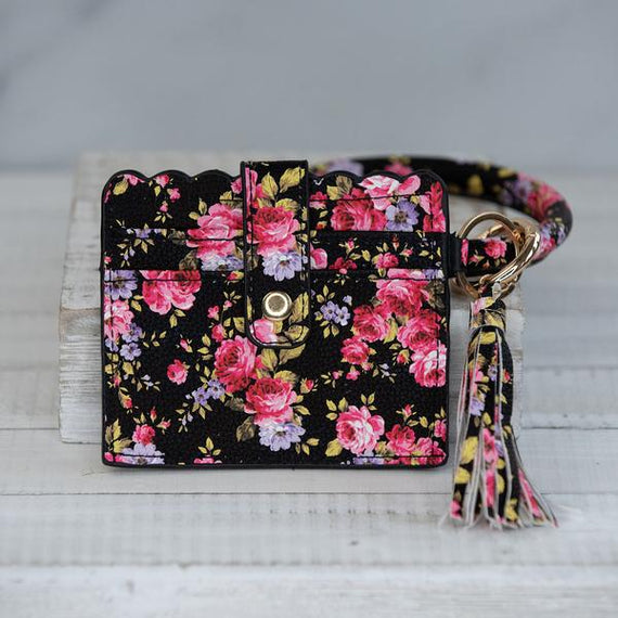 Bangle Key chain with Scalloped Edge Card Holder Black Floral