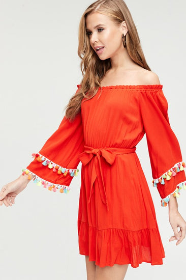 Venice Beach Tassel Dress Red