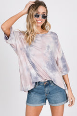 Cotton Candy Sky Tie Dye Top Mauve Gray