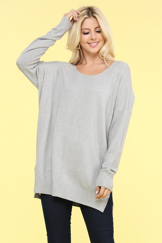 Cheers For Cozy Sweater Tunic Grey