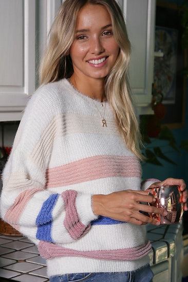 Fuzzy Feeling Stripe Sweater