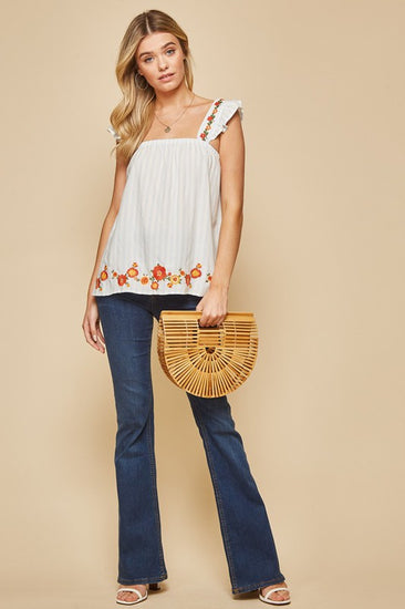 Darling Embroidered Ruffle Sleeve Top