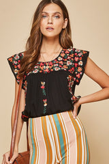 Sweetheart Embroidered Top Black