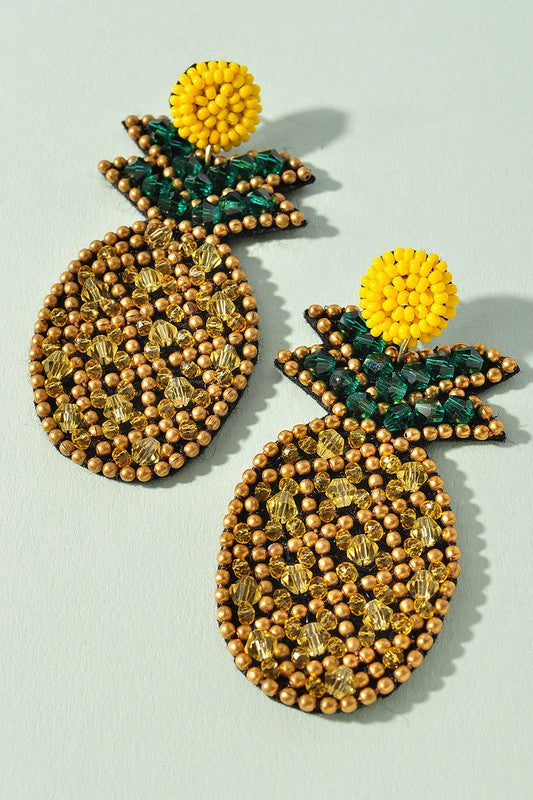 Pineapple Love Beaded Earrings