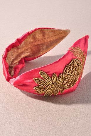 Pineapple Dreams Beaded Headband Coral