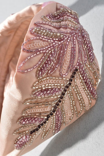Fit For a Queen Light Pink Beaded Headband