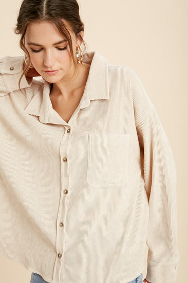 Kamryn Corduroy Shirt Jacket Cream