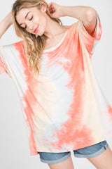 Summer Days Tie Dye Top Coral Peach