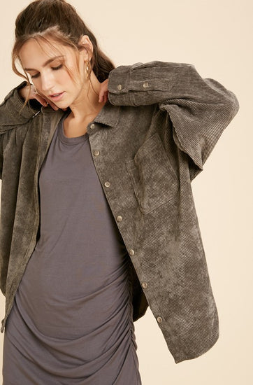 Kamryn Corduroy Shirt Jacket Charcoal