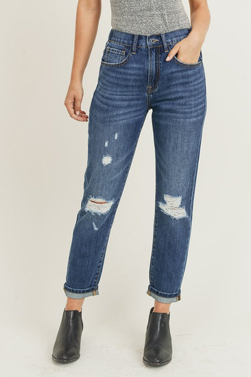 High Rise Distressed Vintage Mom Jeans